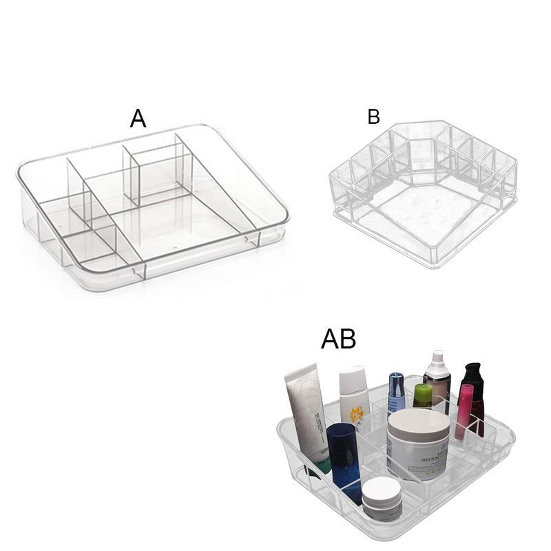 1 pc Cosmetics Transparent Lipstick Holder Multiple Compartment Jewelry Box Plastic Lip Gloss Lipstick Showing Shelf for Female