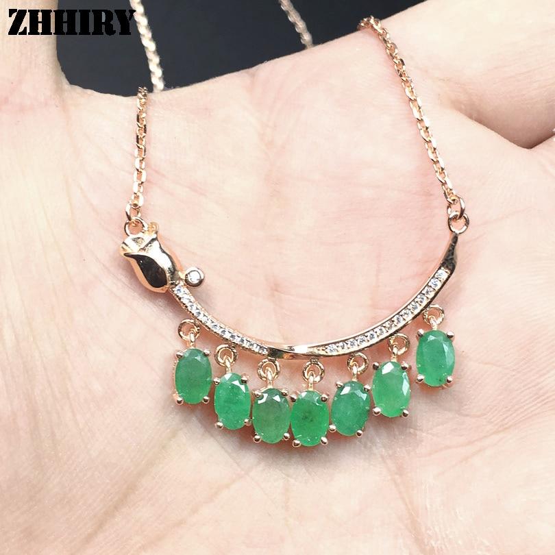 ZHHIRY Green Emerald Halskette Anhänger natürlichen Edelstein - Edlen Schmuck - Foto 5
