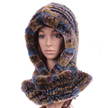 Besty Women one piece real natural rex rabbit hair fur scarf with a hood Thickening encryption autumn winter warm fur scarf hat