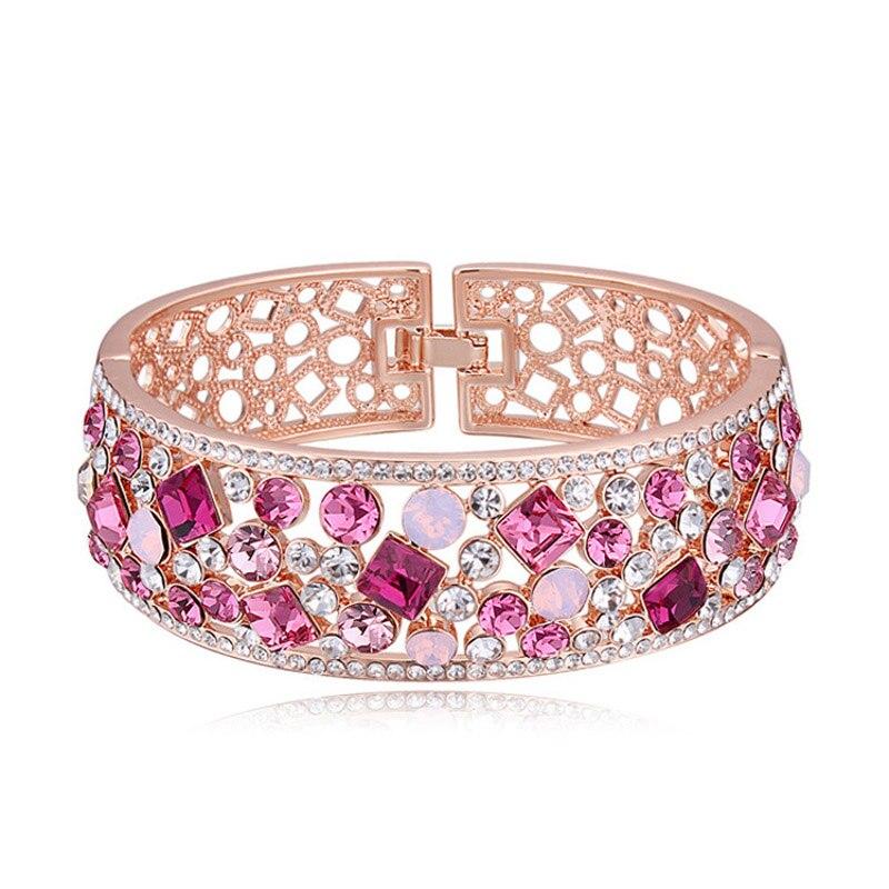 Bracelets en alliage de couleur or Rose avec Bracelet creux coloré pour femme - 3