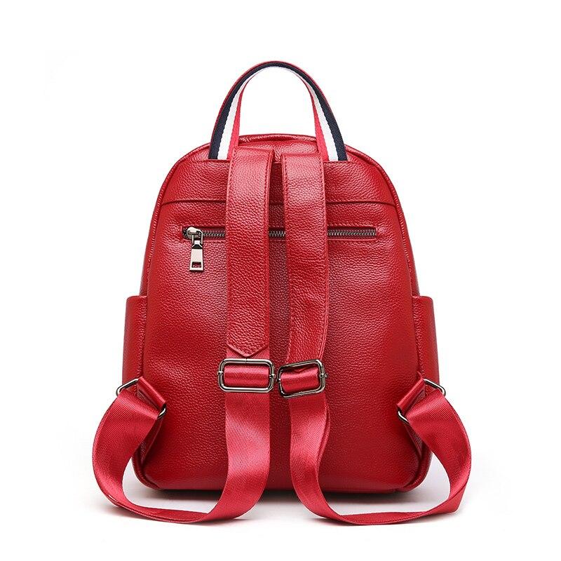 Voyage Style Femme Britannique Femmes Grande Véritable Dos Red Capacité blue Pour black Vache À Cuir Sac Bapack En q6W4SXw