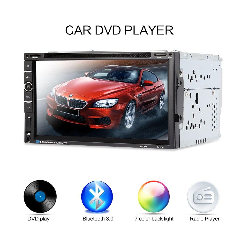 imágenes para F6080 6.95 pulgadas de Doble Din Coche Reproductor de DVD Universal Del Coche Audio Del Coche AutoStereo Soporte Bluetooth Control Remoto