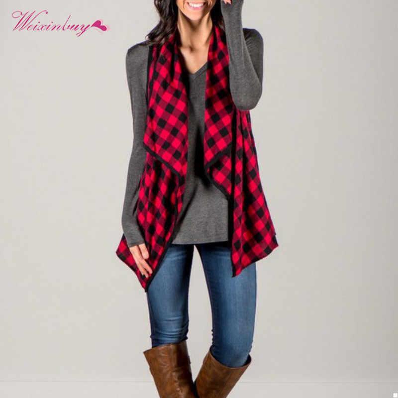 fe15979d880e4 Female Outwear Plaid Red Black Tops Vest Ladies Ruffles Casual Open Jacket  Cotton V neck Autumn