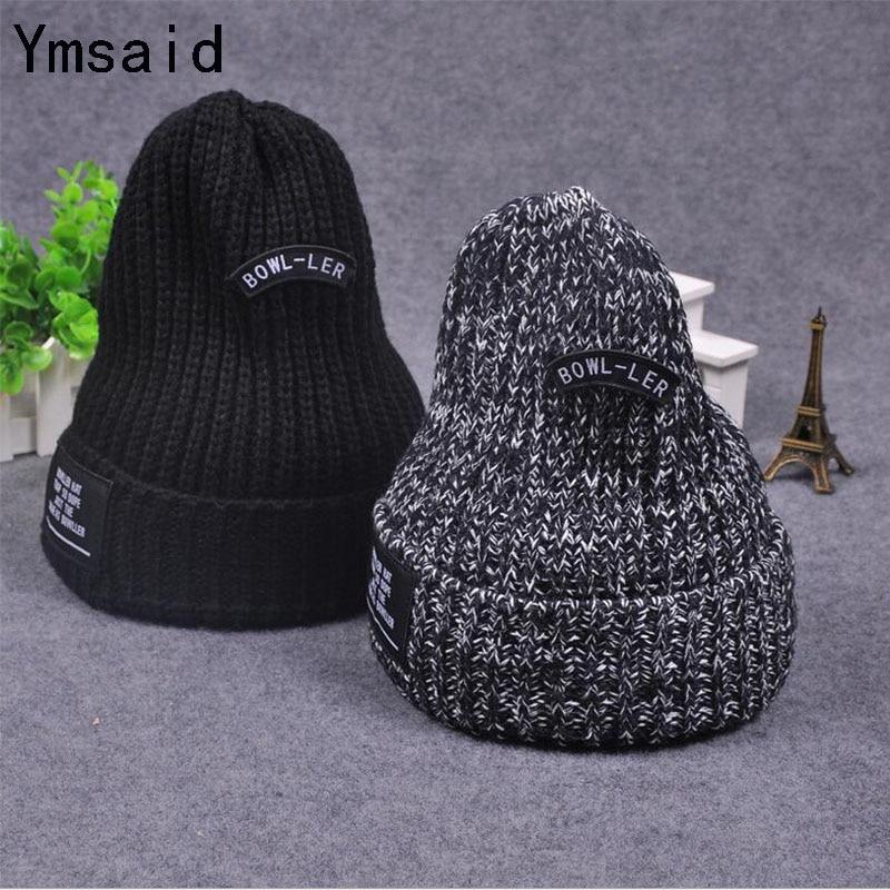 2017 New Hot Female Casual Simple Classci Basic Skullies Beanies Women Knitting Korean Letters Labeling Winter Caps Hats skullies