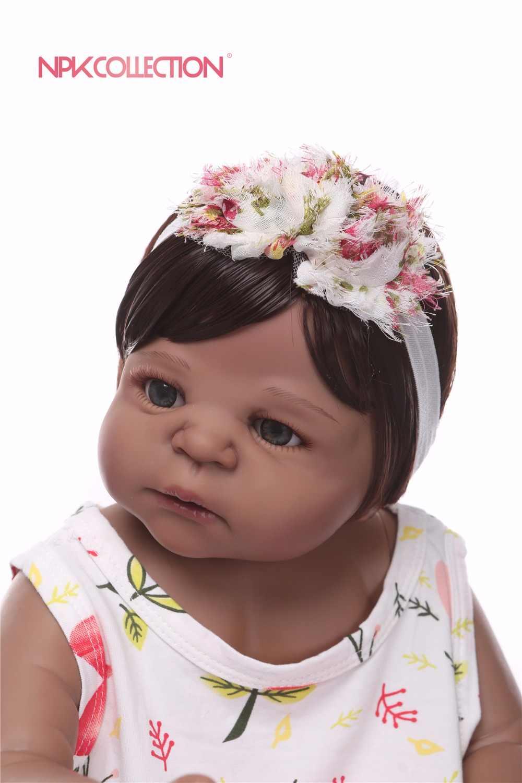NPK 57 см силиконовая кукла для новорожденных, черный и розовый цвет, подарок на день рождения, рождественский подарок
