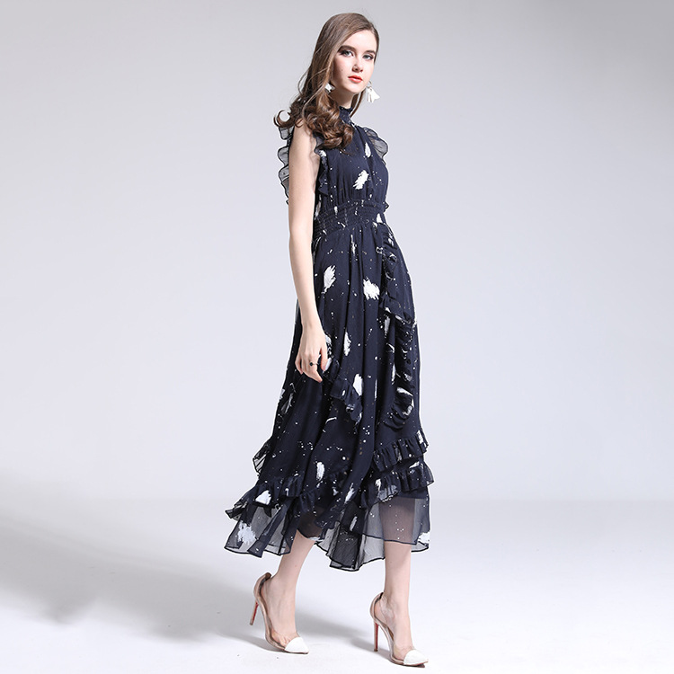 100% brand runway designers dress new 2018 spring summer sleeveless print midi swing dress high end women vestidos женское платье brand new 2015 v midi vestidos dress