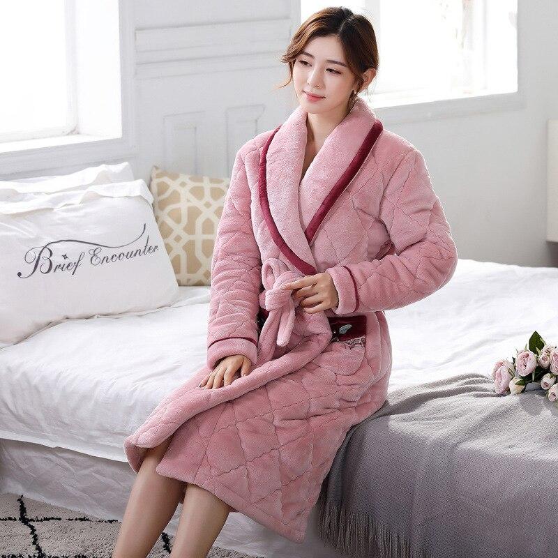 Nouveau femmes trois couches épaissir Plus Long flanelle peignoir femme hiver chaud rose maison coton Robe Szlafrok Badjas