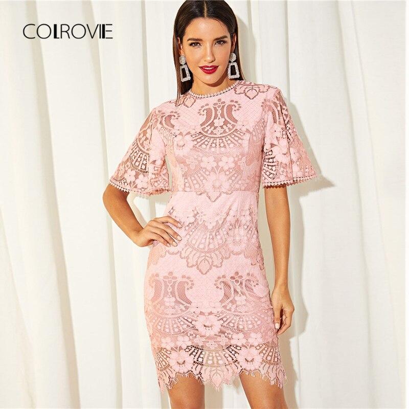 COLROVIE Rose Solide Ruche Pure Cils Parti Dentelle Robe Femmes 2018 Automne Doux Moulante Bureau Sexy Robe Élégante Mini Robes