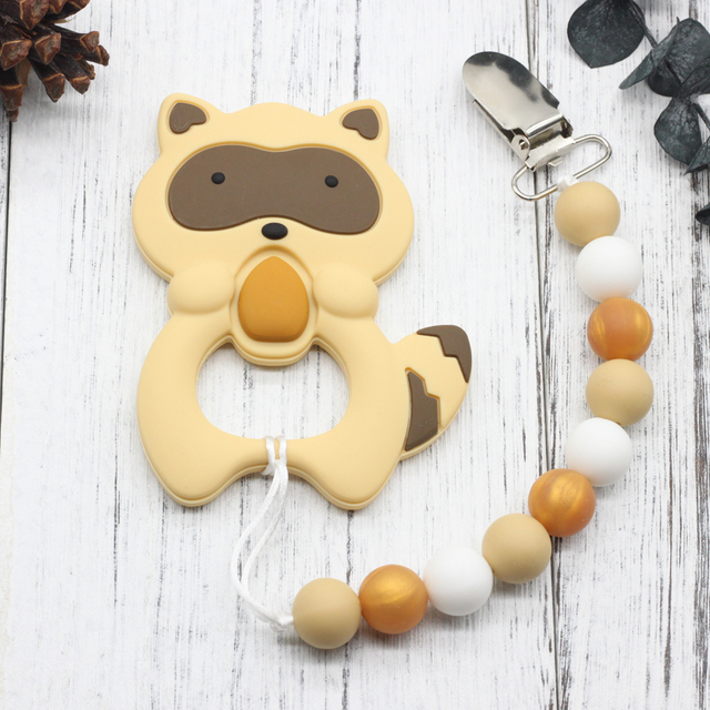 Silicone Raccoon Teether & Pacifier Clip