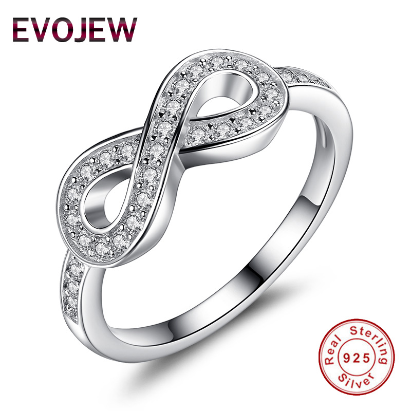 EVOJEW Genuine 925 Sterling Silver Rings For Women Wedding Lady Infinity Finger Rings Engagement Jewelry Gift