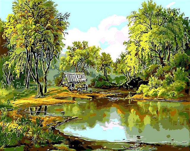 Green spring landscape Oil Painting pond willow picutre By