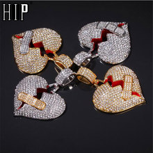 Hip Hop Iced Out Full Rhinestone Wound Heart Breaking Pendant & Necklace For Men Women Jewelry With Twist Chain Dropshipping stylish rhinestone heart hollow out pendant necklace for women