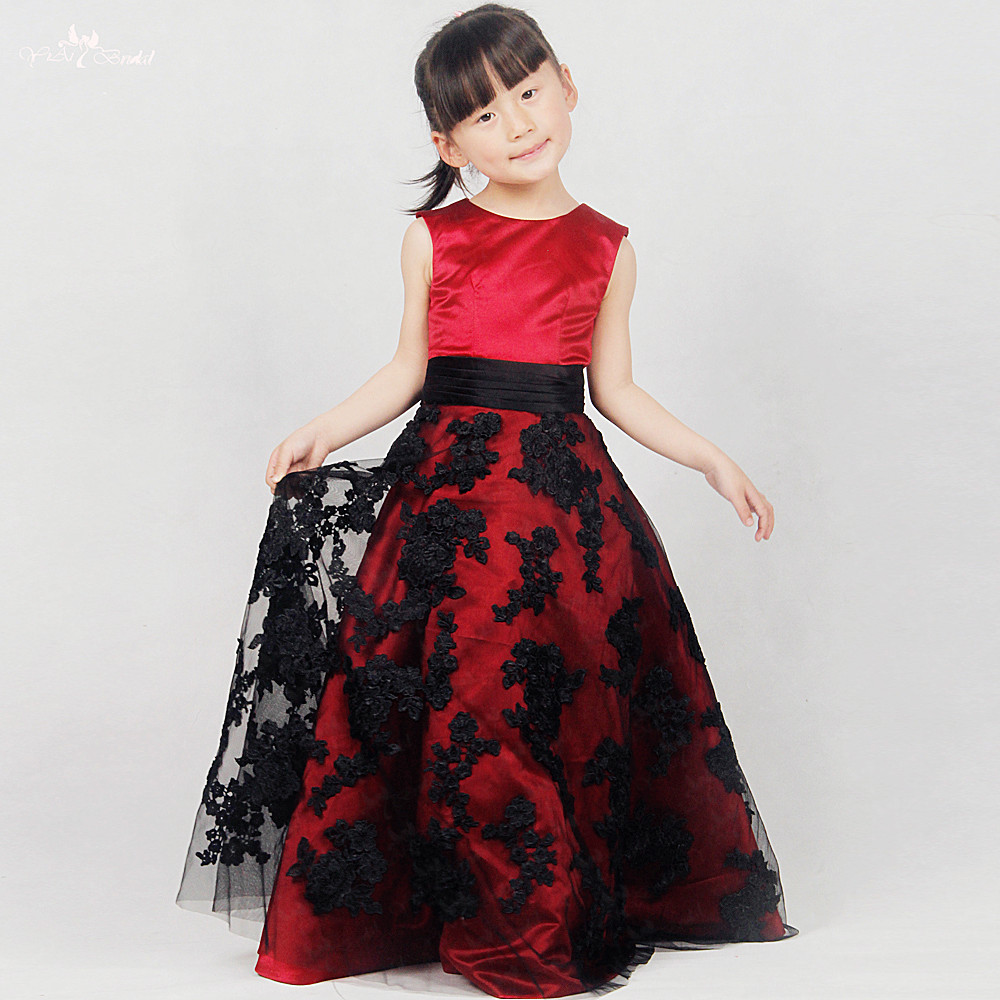 FG57 Real Pictures Yiaibridal Alibaba Retail Store Black Lace Appliques   Flower     Girl     Dress   Red Pageant   Dresses     Girls