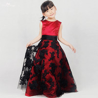 FG57 Real Pictures Yiaibridal Alibaba Retail Store Black Lace Appliques Flower Girl Dress Red Pageant Dresses