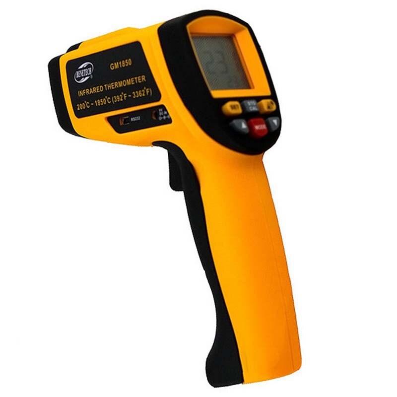 Ручной инфракрасный термометр gm1850 Температура Диапазон 200 ~ 1850 Цельсия 0.1 до 1.00 Регулируемый Температура метр тестер RS232