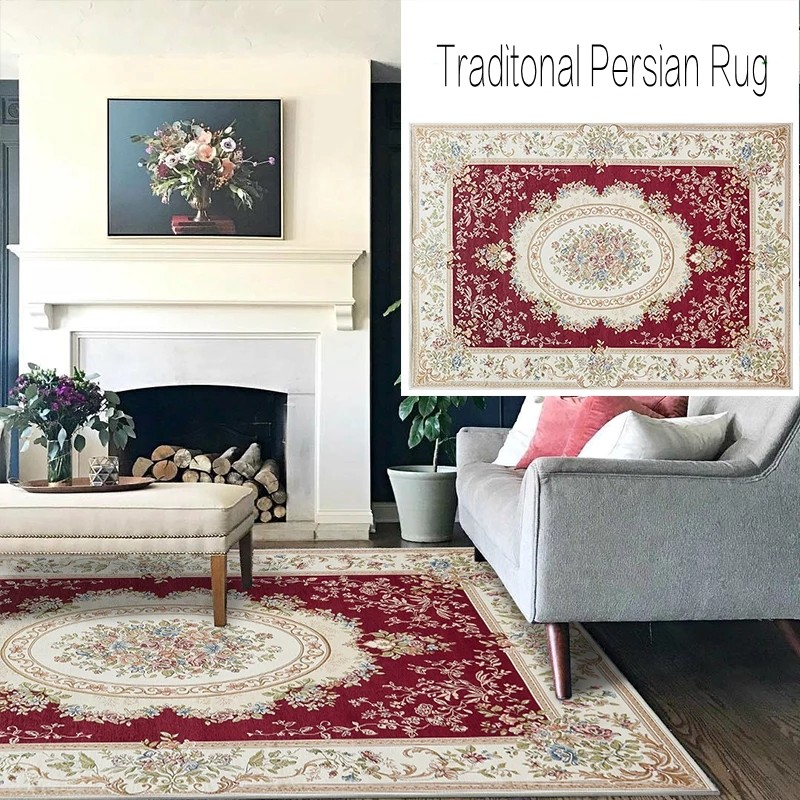 Tapis persan traditionnel de style européen, tapis de salon floral rouge de grande taille vintage, tapis de table basse de grande taille