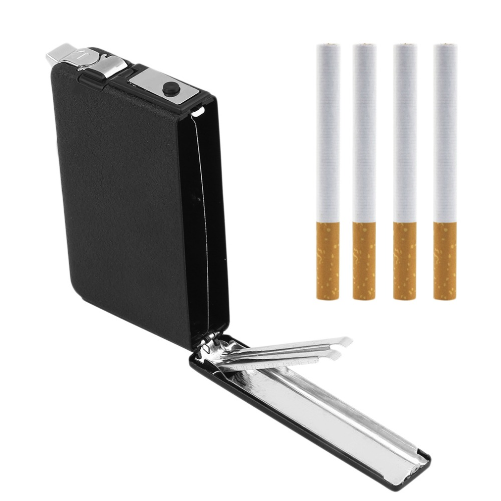 2 in 1 portable cigarette case box holder windproof flame fire gas refillable lighter durable metal
