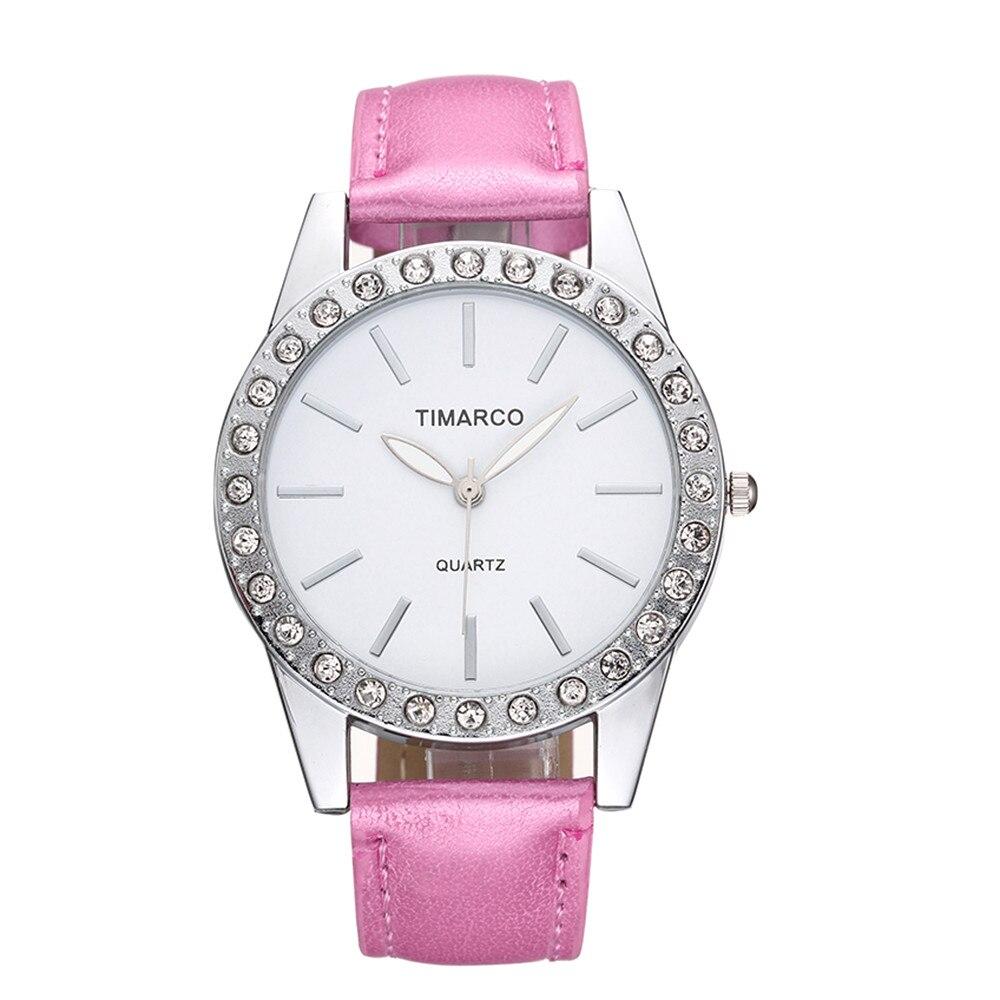 2018 Luxury Top Brand Wrist Watch Dress Pink Leather Band Analog Quartz Fashion Diamond Girl Lady Women Watches Clock Reloj Gift