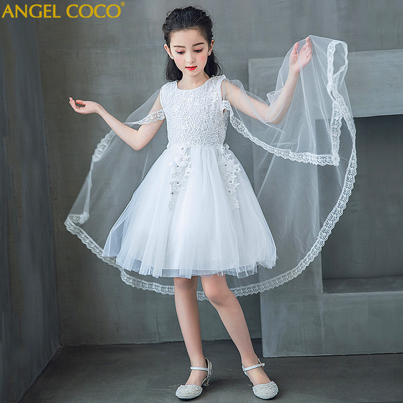 Removable Shawl White Girl Wedding Braidal Dress Children Brand Clthinng Girl Dress Kids Evening Party Gown Designs For Teenager
