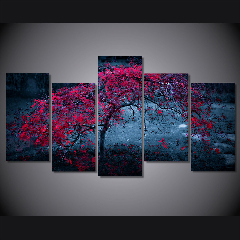Modular Canvas Paintings Living Room Wall Art HD Prints Pictures 5 Pieces Tree Light Purple Autumn Posters Home Decor Framework