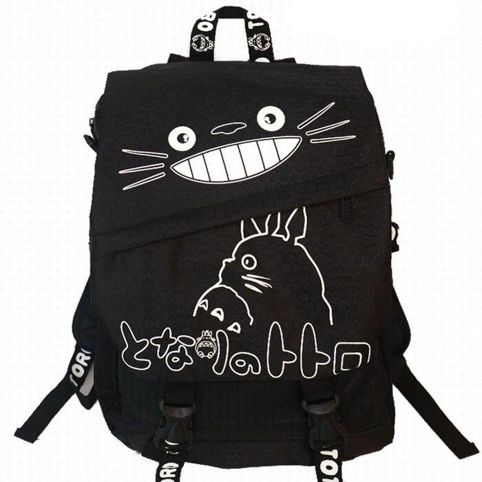 2016 Japan Anime Miyazaki Hayao Totoro Black Canvas Cartoon Adult Backpack School Bag Gift