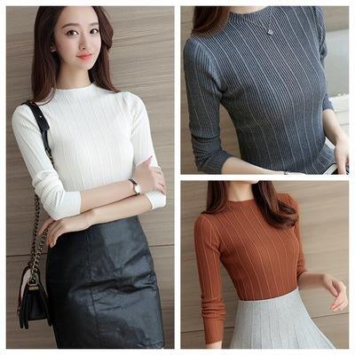 otoño Coreano Delgado que basa la camisa del color sólido salvaje suéter suéter