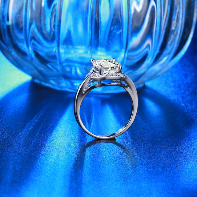 rings for women big round Austrian crystal wedding engagement ring white gold plate vintage anies shine rhinestone jewelry DD279