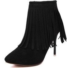 35-40 sapato feminino botas mujer серый черный красный женщины кисточкой ботильоны осень зима теплая платье обувь пинетки работа свадебные