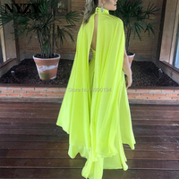 NYZY E129 Chiffon Cape Cloak Sleeve Yellow Cheap Evening Dress Elegant Robe Soiree abendkleider 2019 abiye gece elbisesi