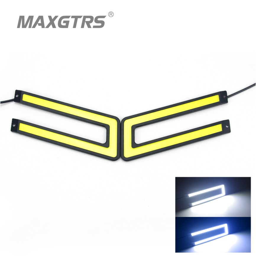 2Pcs/set New Car U Shape LED Light Guide Daytime Running Lamp COB LED DRL Waterproof Bumper Decorative Fog Lights Sticker 12V