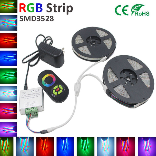 5M 10m15M 20M waterproof RGB Led Strip Light 3528 DC12V 5M/roll Fiexble Light Led Ribbon Tape Home Decoration+RF tuch controller