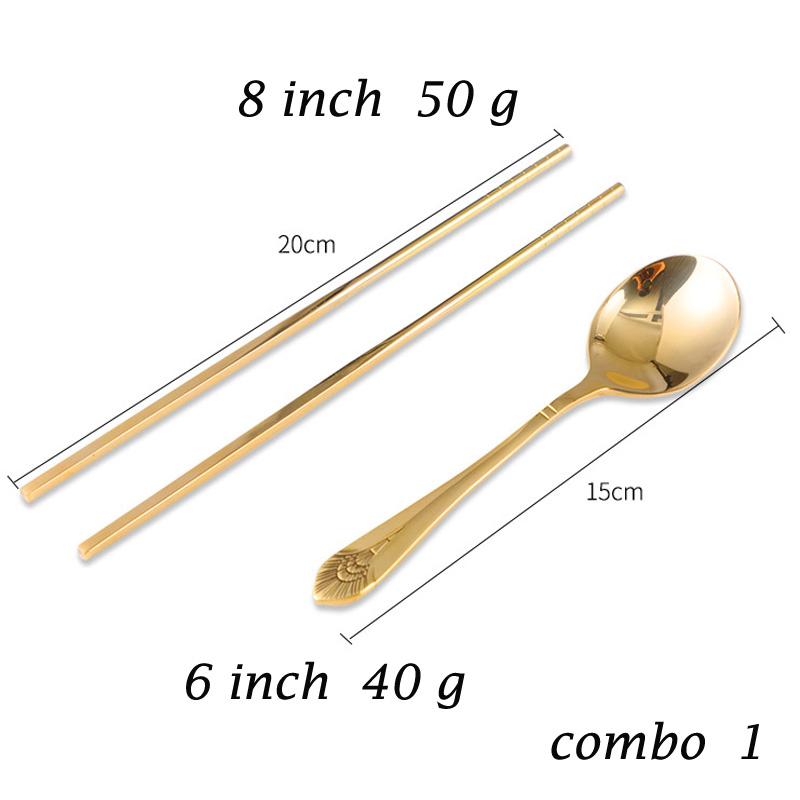 Cool Color Golden Stainless Steel Pure copper cutlery Kit Korean Adult Students Traditional Chinese Tableware Set home gifts in Dinnerware Sets from Home Garden