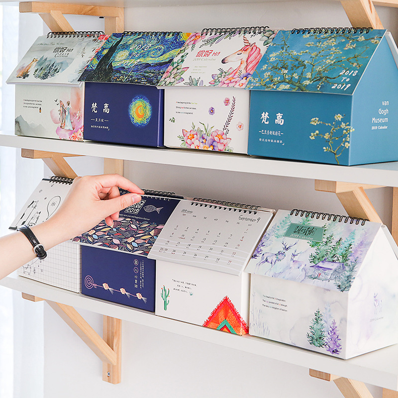 2019 Creative folding house  desk calendar Korean stationery small fresh multifunctional calendar  desktop storage2019 Creative folding house  desk calendar Korean stationery small fresh multifunctional calendar  desktop storage