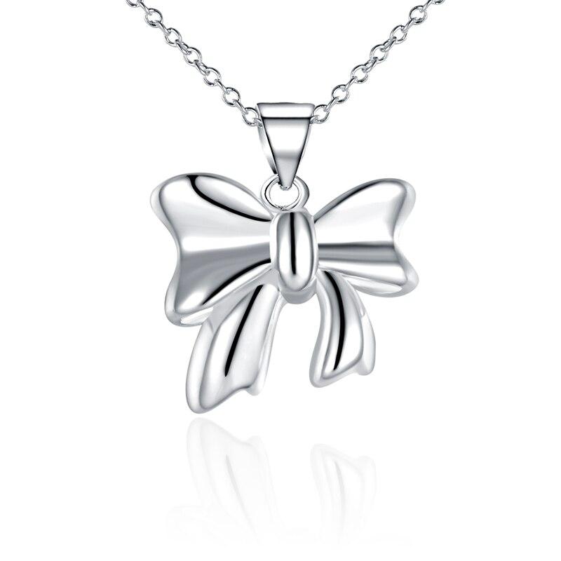 925 стерлингового серебра Колье Ожерелье замечательный лук ожерелья и кулоны с цепями для женщин Свадьба Ювелирные изделия аниме N619