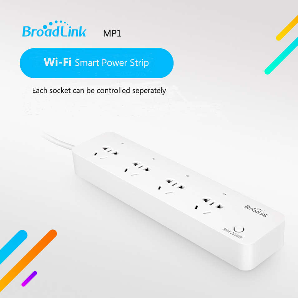 BroadLink MP1 Smart Power Extension Socket Separately Controlled WiFi Remote Control 4-Outlet Power Strip Smart Home Automation