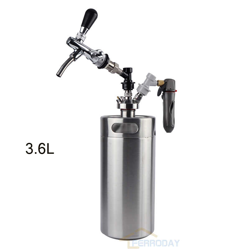 Homebrew 3.6L mini growler spears Beer Spear with Tap Faucet with CO2 Injector Premium +3.6L Mini Keg Beer Growler