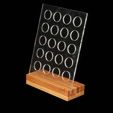 1PC Acrylic Coffee Pod Holder Rack Capsule Storage Stand with Bamboo Base for 20pcs Nespresso Capsule