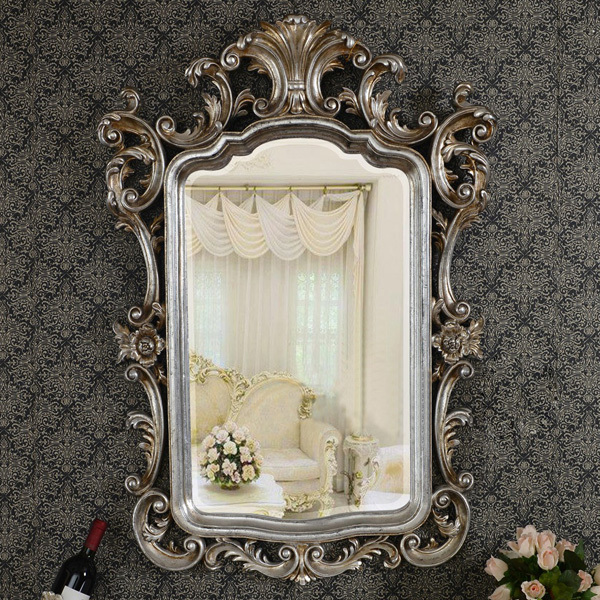 european antique refined mirror luxury silver frame decor
