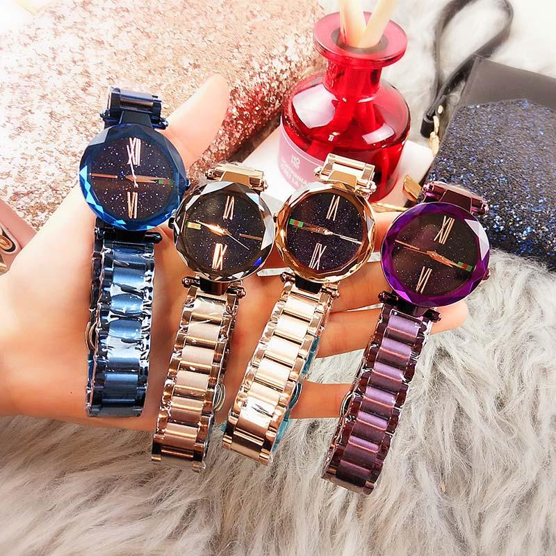 Ladies Magnetic Starry Sky Clock Luxury Women Watches Fashion Diamond Female Quartz Wristwatches Relogio Feminino Zegarek Damski