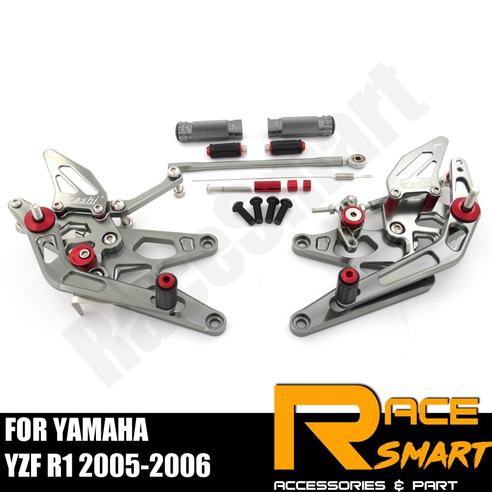 FOR YAMAHA YZF R1 2005 2006 R 1 R-1 Rear Footrests Foot Rest Pegs Pedal Motorcycle Accessories CNC Adjustable Rearset FootPegs