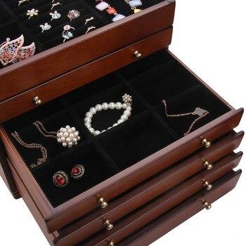 Brown Large Wooden Jewelry Box Display Organiser Velvet Case Rings Earring Bracelet Storage Packaging Mirror
