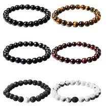 6Pc/Set Couples Distance Bracelet Classic Natural Stone White and Black Yin Yang Beaded Bracelets for Men Women Best Friend Hot