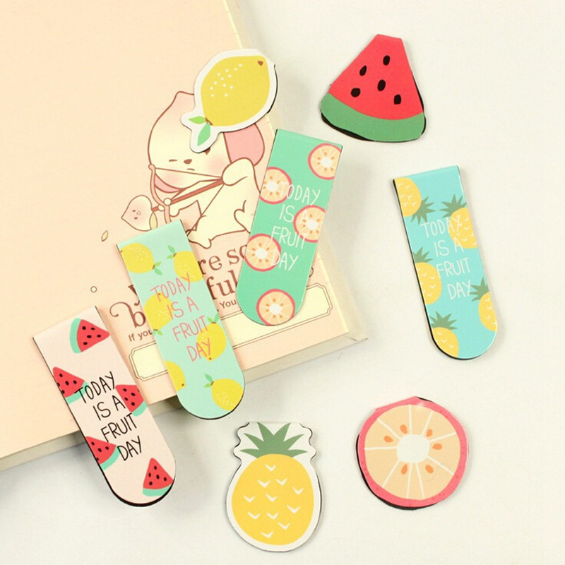 A44 Kawaii Cute Fruit Ice Cream Magnetic Bookmarks Books Marker of Page Stationery School Office Supply Student Rewarding Prize effiel tower magnetic bookmark paris tower magnetic bookmarks for books magnetic clips page marker
