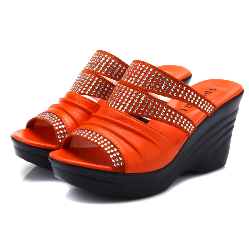 Heavy-bottomed female summer leather sandals and slippers diamond slope with high-heeled sandals women's shoes summer new leather sandals and slippers women sandals slope with thick crust outdoor leather lady slippers women s shoes