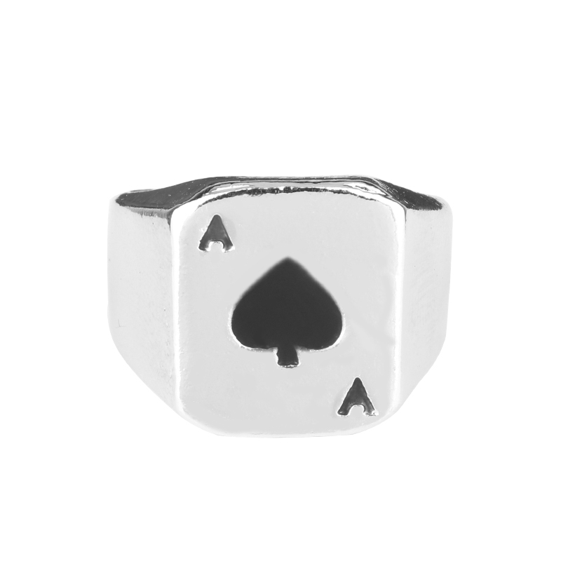 Wholesale Chunky Alloy Black Enamel Spades Poker Ring Men A fashion personality play card Rings Vintage Cool Mens Jewelry Rings
