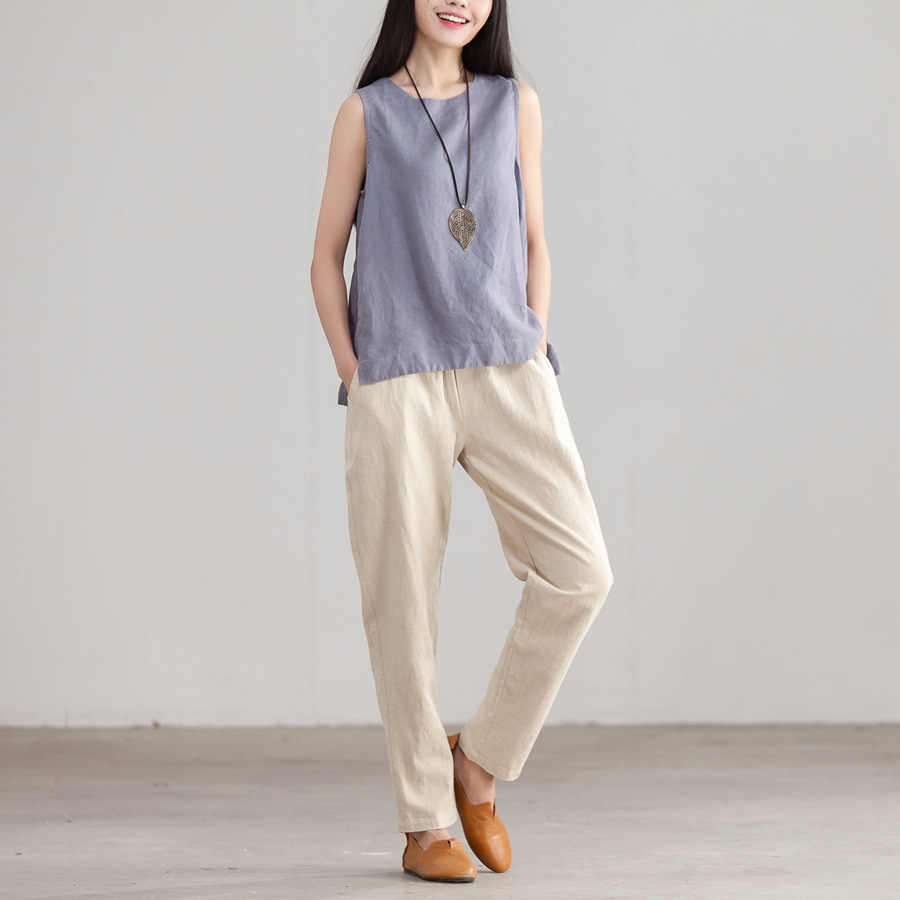 cde4f7ee02f0e3 Women Summer Simple Linen Tanks Tops Ladies loose Casual Vest Camis Female  Sleeveless Tops Female Solid