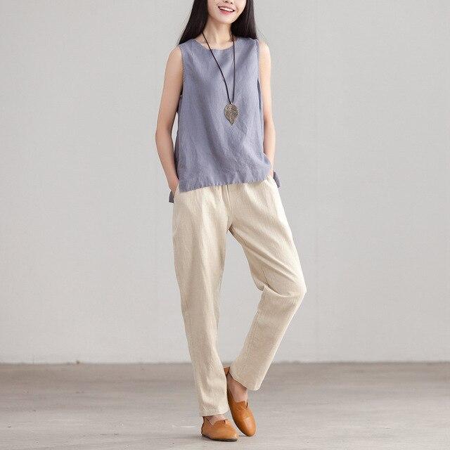 23c95c901b4669 Women Summer Simple Linen Tanks Tops Ladies loose Casual Vest Camis Female Sleeveless  Tops Female Solid Color Tanks 2018
