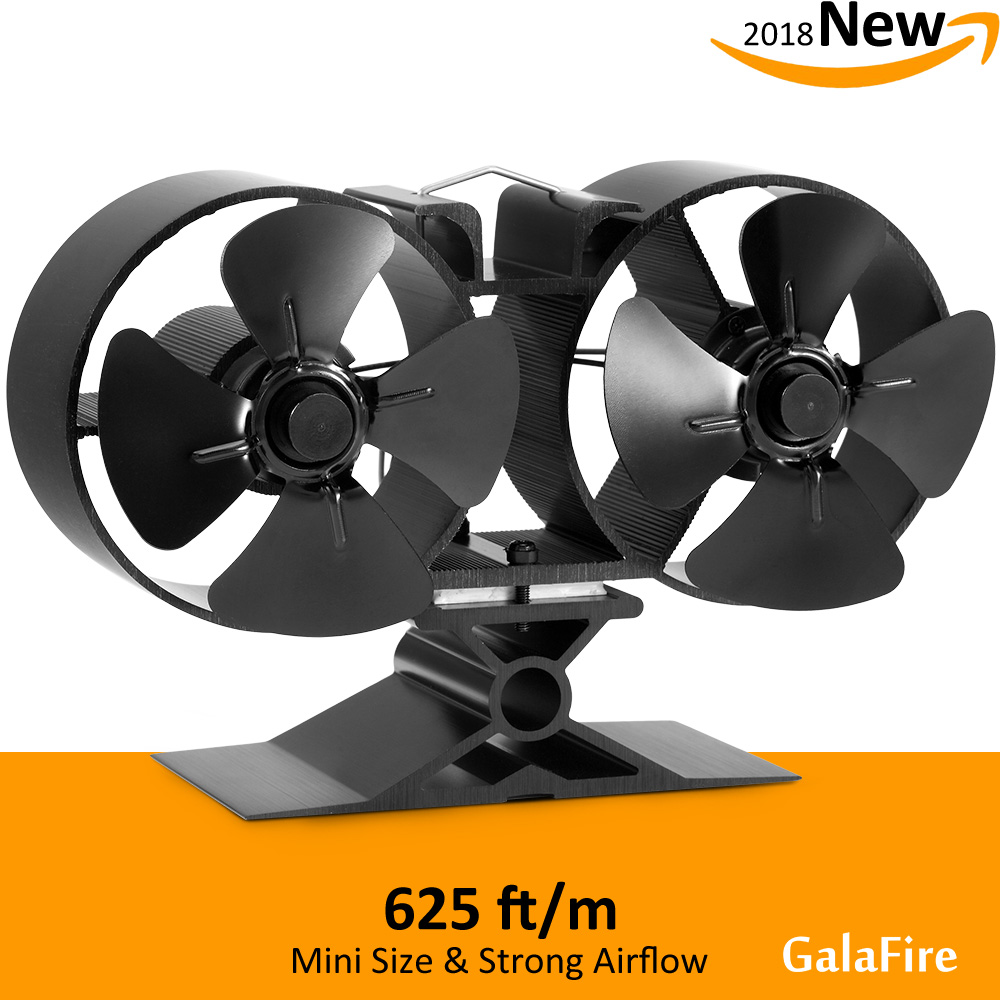 8 Blade Twin Motor Heat Powered Eco Stove Fan 33% Fuel Cost Saving Aluminum Black for Wood Gas Coal Pellet Log Stoves qaulity aluminum vacuum cleaner motor fan blade 112mm 8mm hole wind wheel impeller