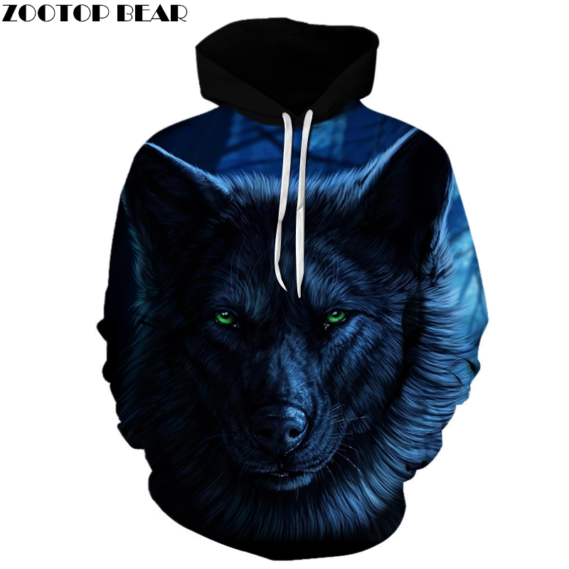 3D Men Wolf Hoodies Brand Sweatshirts Drop Ship Pullover Fashion Casual Hoodie Animal Hot Sale Spring Tracksuits ZOOTOP BEAR ...