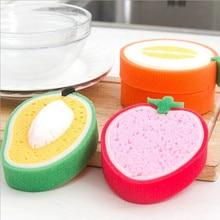 Fruit Shape Thick Sponge Cloth Cute Washing Cloth Towel Non Stick Oil Sponge Kitchen Cleaning Sponge